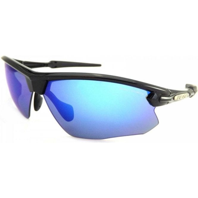 BLOC Fox sports Sunglasses Polished Black with Blue Mirror Lenses