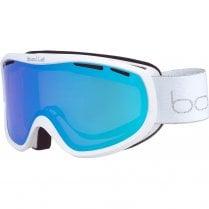 SIERRA White & Silver Shiny Ski Goggles - Aurora Cat 2 Lens