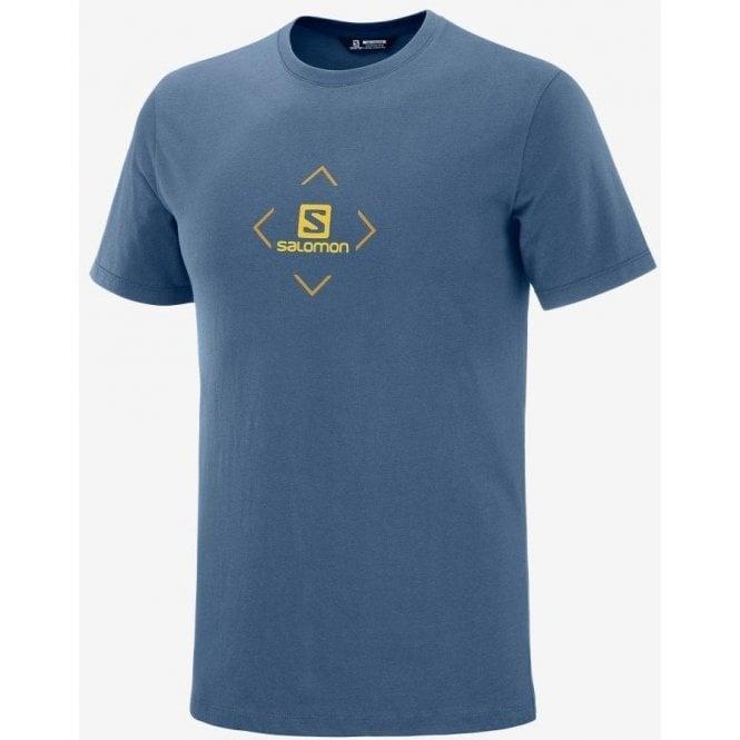 Salomon Clothing Men's Coton Logo Tee - Dark Denim/Cumin
