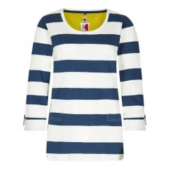 Ajay Cotton Slub Stripe Long Sleeve T-Shirt - Dark Denim