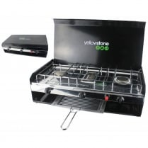 Durable Steel Double Burner with Grill and Lid