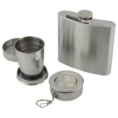 Hip Flask and Packable Cup Set
